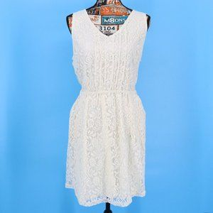 Pinky Soft Cream Lace Overlay Sleeveless Dress